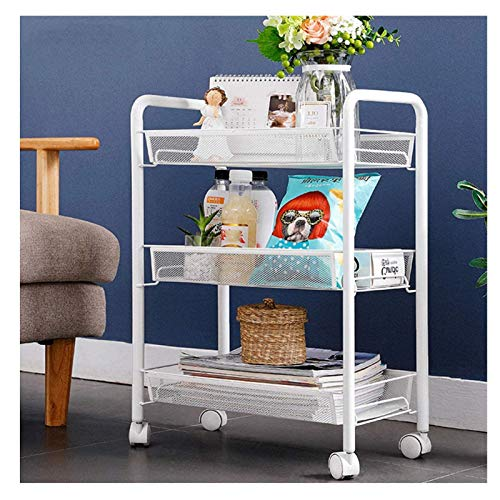 Trolley GBAO 4-Tier Storage Rolling Utility Cart on Wheels with Metal Rolling Stacking Shelf for Kitchen Home Office Garage Bathroom Rack- 45x27x63CM