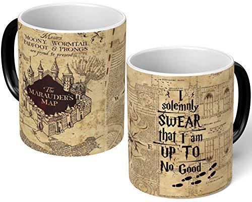 Harry Potter – Taza mágica de merodeadores con el mapa I solemnly Jurar que cambia el calor taza magia taza de té y café regalo