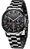 LIGE Men's Watches Casual Sports Stainless Steel Quartz Waterproof Watch with Chronograph Calendar Date Black Wristwatches