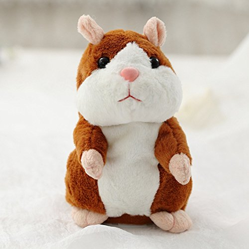 Schattige Pratende Hamster Knuffel, Spreek Talk Geluidsrecord Knuffeldier Hamster Poppen, Kinderen Verjaardagscadeau Speelgoed 15Cm Bruin