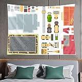 Tapiz de pared,construction elements set of modern vector objects,tapiz para colgar en la pared para dormitorio estético como arte de pared y decoración del hogar para el hogar y al aire libre
