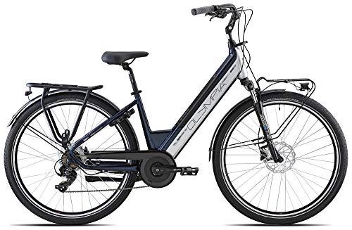 OLYMPIA BICI E-Bike City 28 ELETTRICA Roadster 700C Comfort Gamma 2021 (Blu Scuro Bianco (cod. 27))