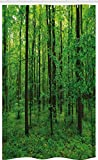 ABAKUHAUS Grün Schmaler Duschvorhang, Frühlings-Wald Bush Rural, Badezimmer Deko Set aus Stoff mit Haken, 120 x 180 cm, Dunkelbraun Grün