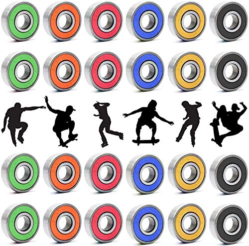 24pcs 608RS Skateboard Bearings,Longboard Roller Skate Bearings, Double Rubber Sealed Shielded Miniature Deep Groove Bearings for Skateboards, Longboards, Scooters, Spinners (6 colors available)