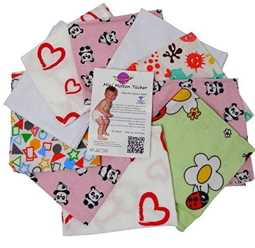 Babymajawelt® Mama Mini agnos Molton flanellen luiers mini 40/35-10 Pack - zachte spuugdoeken, washandjes