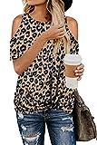 KINGFEN Tshirt Damen O Ausschnitt Sommer Bluse Off Shoulder Bluse Tunika Damen Kurzarm Leopard Print T Shirt Beiläufige Loose Top Weich Große Größen T-Shirt Fashion Oberteile Shirt Braun XXL