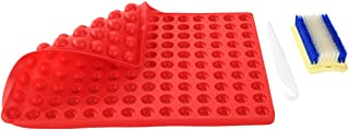Non-Stick Silicone Baking Mats Sheet - 2cm Hemisphere Baking Mould for Dog Biscuits Treats/Puppy Cookies, Silicon Chocolate Candy Mold, Fat Reducing Cooking Mat, Reusable Bakeware, BPA Free (Red)