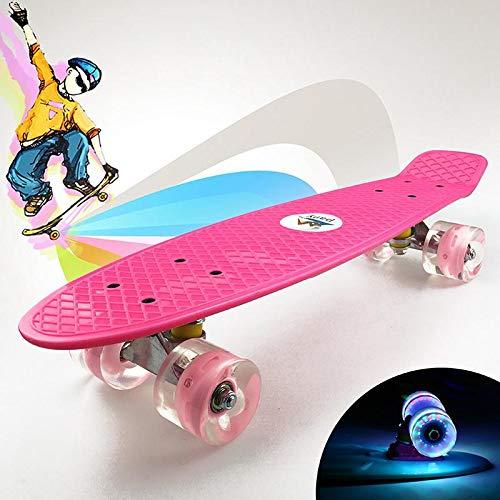 Ceepko Komplett Mini Kids Cruiser Skateboard 55,9 cm mit LED-Licht Rollen für Erwachsene, Kinder, Anfänger, Mädchen Jungen, Rose