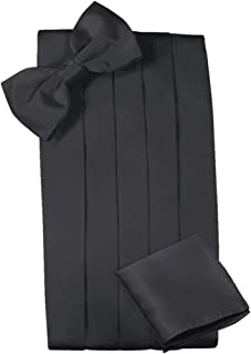 Mens Satin Cummerbund Bowtie Hanky set, 4 Pleat, Large Variety of Solid Colors Available, by Platinum Hanger