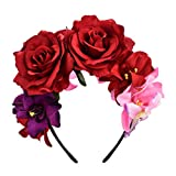 DreamLily Day of The Dead Headband Costume Rose Flower Crown Mexican Headpiece BC40 (Mexican Festival Crown)