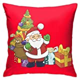 Red Thunder Christmas Santa Claus Mini Gift Tree Pattern Throw Pillow Covers Cotton Polyester Cushion Cover Cases Pillow Case Cushion Cover for Sofa Couch Decor Home Decor 18x18 Inch (45 X 45cm)