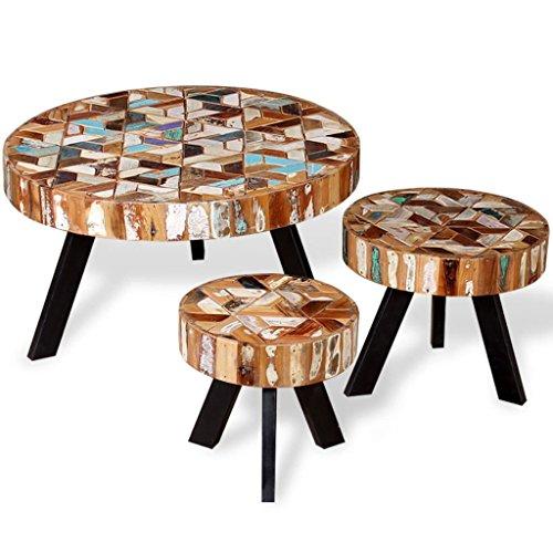 Weilandeal 3-delige salontafel set massief gerecupereerd hout Materiaal: massief teruggewonnen hout ronde tafel ronde tafel