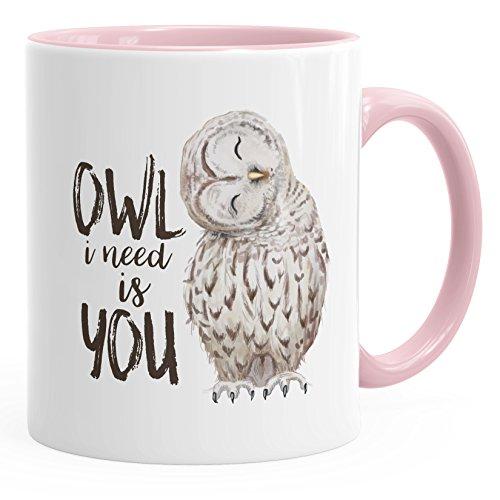 MoonWorks Kaffee-Tasse Eule Owl I Need is You Liebe Spruch Geschenk Valentinstag Weihnachten Ehe Partnerschaft rosa Unisize