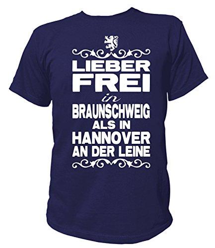 Artdiktat Herren T-Shirt - Lieber frei in Braunschweig als in Hannover an der Leine - Funshirt Humor Fun Spaß Kult Funny Spruch Größe XL, Navy