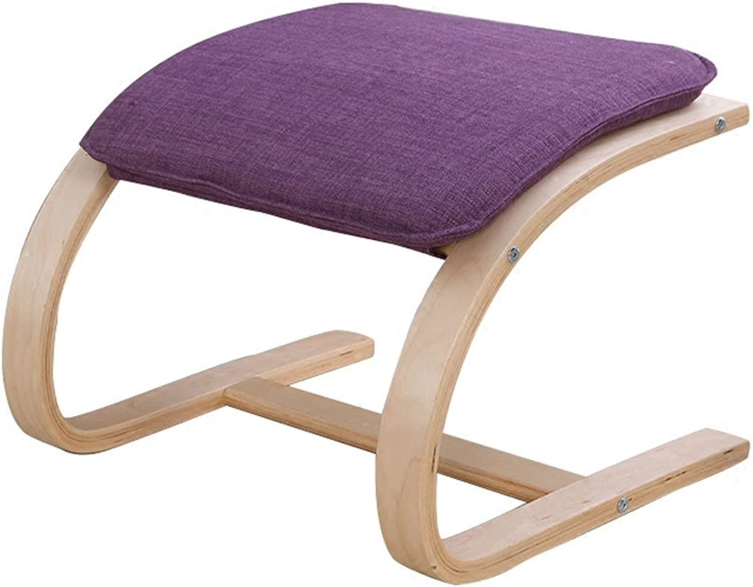 Sofa Stool Foot Step Stool Simple Stool Bentwood Stool Curved Leg Low Stool Cloth (color   Green)