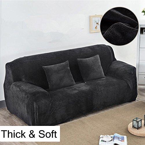 Dicke Sofaüberzüge, 1/2/3/4-Sitz-Überwurf, Sofa Schutzüberzug aus Samt. einfache Passform, Stretch-Material, Couch-/Bettüberwurf, schwarz, 3 Seater:195-230cm
