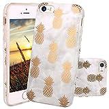 JIAXIUFEN Coque iPhone 5 5S Se, Silicone TPU Étui Housse Souple Antichoc Protecteur Cover Case - Shiny Gold Pineapple Gray Désign