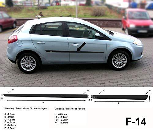 Spangenberg, bandes de protection latérales noires, compatible avec FIAT Bravo II type 198 berline 5-portes ans de construction 11.2006-06.2014 F14 (3700014)