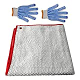 AAGUT 19'x19' Welding Blanket Heavy Duty Fire Retardant Blankets Ceramic Fiber Heat Shield Pad, Fireproof Thermal Resistant Insulation Weld Curtain, Soldering Torch Flame Protector with 1 Pair Gloves