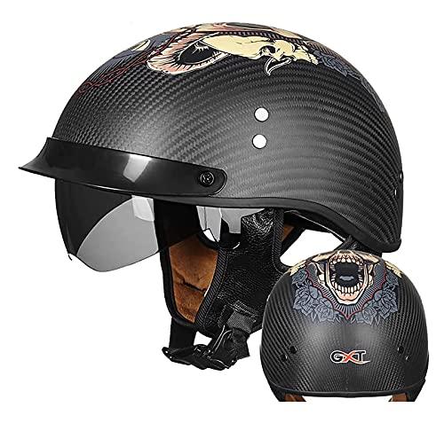 Medio casco de motocicleta, cuenco de casco, casco jet de motocicleta retro, material de fibra de carbono, casco de seguridad anticolisión para scooter, aprobado por DOT/ECE 6,M