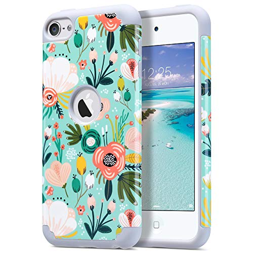 ULAK iPod Touch 7 Case, iPod Touch 6 Cases, Slim Shockproof Hybrid Hard PC Back Cover with Soft Silicone Inner Premium Bumper Case for Apple iPod Touch 7th/6th/5th Generation, Mint Floral