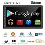 "Liehuzhekeji Android 8.1 Double Din Car Stereo Radio Receiver, 7"" HD 2.5D Screen"