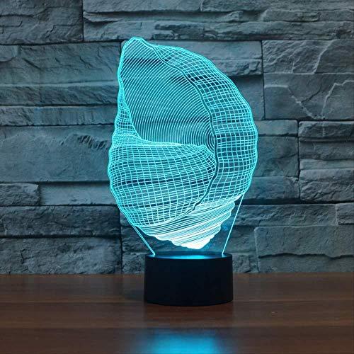 3D Illusion Night Light bluetooth Smart Control 7 & 16M Couleur Mobile App Led Vision mer animal Conque table bureau plat ABS base chargeur home textiles enfants dormant Halloween chevet