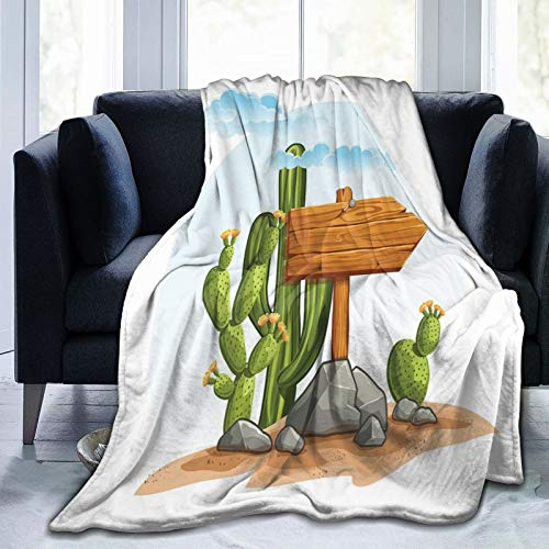 Flannel Blanket Lightweight Super Soft ,Cartoon Style Arid Country Plants With Blooming Flowers Nailed Wooden Sign On Rocks,Blanket With Soft Anti-pilling Flannel For Adults & Kids 3D Print 60'x50'