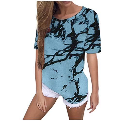 YANFANG Camiseta Casual de Verano con Estampado de teñido Anudado para Mujer Camiseta de Manga Corta con Cuello en O Lindo Tops, Camisa Sudadera Top Túnica Tops Jersey Largo