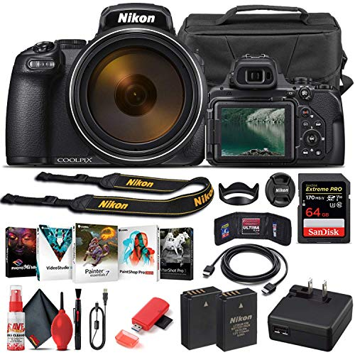 Nikon COOLPIX P1000 Digital Camera (26522) + 64GB Memory Card + Case + Corel Photo Software + EN-EL 20 Battery + Card Reader + HDMI Cable + Deluxe Cleaning Set + Flex Tripod + Memory Wallet (Renewed)