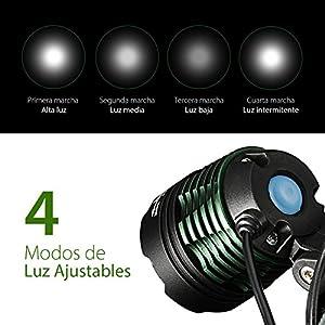 TOPELEK Linterna Frontal LED Recargable Alta Potencia 3000 Lúmenes, Linterna Cabeza con 4 Modos, Haz Luminoso Múltiple, Autonomía hasta 16H, Impermeable IPX6 para Casco, Pesca, Bici, Camping y Caza