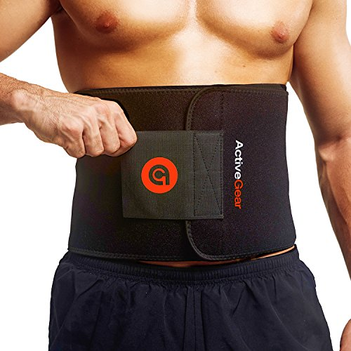 """ActiveGear Waist Trimmer Belt for Stomach and Back Lumbar Support, Medium: 8"""" x 42"""" - Red"""