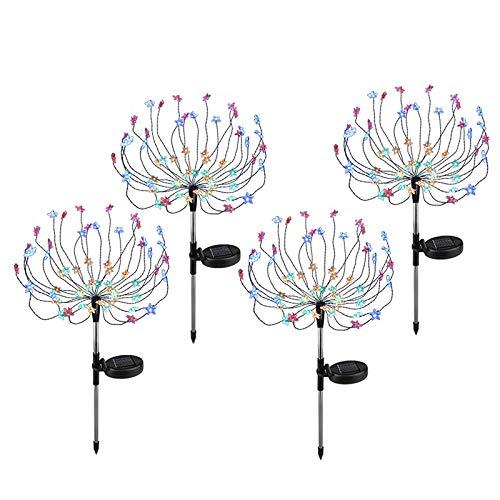 cherrypop 4Pcs 60 LED Solar Powered Firework Lights IP65 Waterproof Outdoor Lamp for Landscape Path Lawn Garden Outdoor Decoration