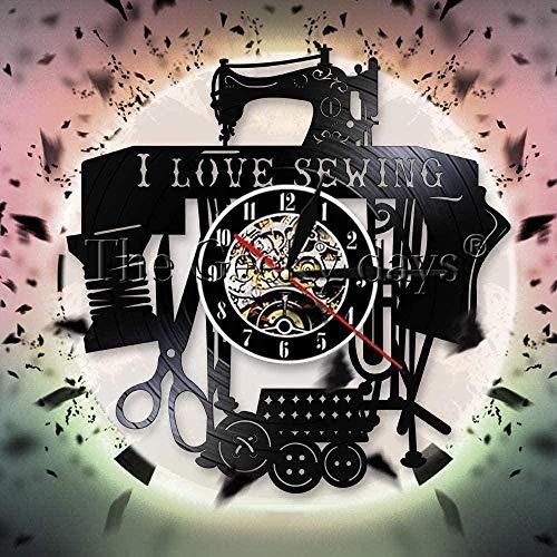 NC83 Me Encanta Coser Coser Disco de Vinilo Reloj de Pared Sierra niña Reloj de Pared Diseño Moderno Máquina de Coser Personalizada Decoración de Pared Regalo de Costura 30cm