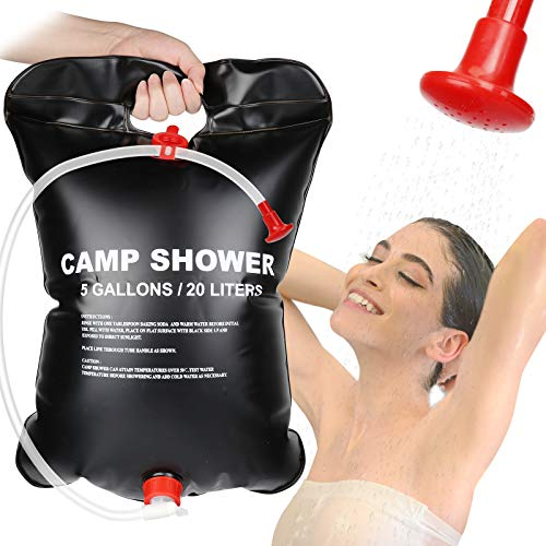 MGRETT Campingdusche Solar,Solardusche Duschsack,20L Outdoor Dusche Reisedusche Camp Shower Wandern Wassersack Shower mit Duschkopf,Schlauch