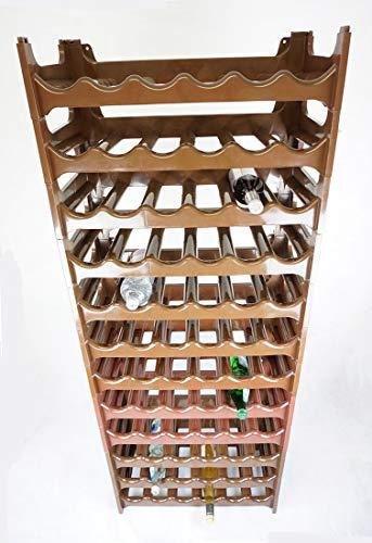 Novaliv Weinregal für 72 Flaschen | braun | aus stabilem Kunststoff | Flaschenregal (Braun, 12)