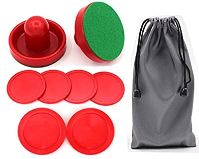 Qtimal Home Standard Air Hockey Paddles and 2 Size Pucks, Small Size for Kids, Large Size for Adult, Great Goal Handles Pushers Replacement Accessories for Game Tables (2 Striker, 6 Puck Pack) by Qtimal