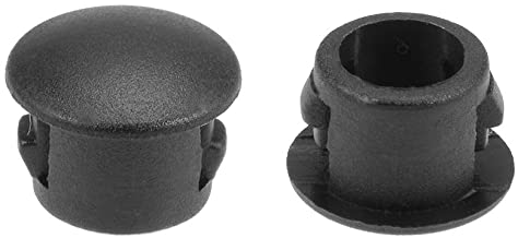 uxcell Hole Plugs Black Plastic 6mm(1/4-inch) Snap in Locking Hole Tube(Fit Hole Diameter:5.5-6mm), Fastener Cover Flush Type Panel Plugs 100 Pcs