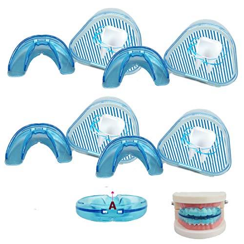 WYHP Zahnschiene 4 Er Set Mundschutz, Kieferorthopädischer Zahnfleischschutz Für Zahnspangenträger, Für Jugens, Boxen, Rugby, Muay Thai, Hockey, Basketball (blau)