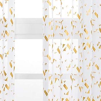 Kotile White Sheer Curtains - Gold Foil Confetti Fluttering Print Rod Pocket Short Sheer Drapes for Bedroom 52 x 63 Inches 2 Panels