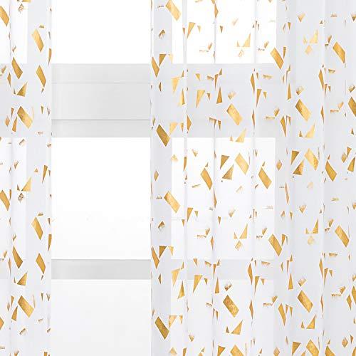Kotile White Sheer Curtains - Gold Foil Confetti Fluttering Print Rod Pocket Short Sheer Drapes for Bedroom, 52 x 63 Inches, 2 Panels