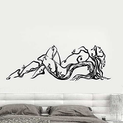 Calcomanía de pared abstracta de mujer naturaleza chica desnuda saxy árbol ramas, pegatinas de pared para decoración de interiores del hogar, dormitorio, calcomanías de vinilo 58 x 20 cm
