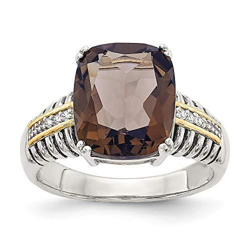 Ster. De 14ct amarillo Diamante en bruto - anillo cuarzo Smokey tamaño P 1/2 - JewelryWeb