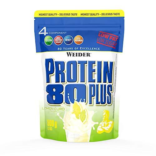 WEIDER Protein 80 Plus Eiweißpulver, Zitrone-Quark, Low-Carb, Mehrkomponenten Casein Whey Mix für Proteinshakes, 500g