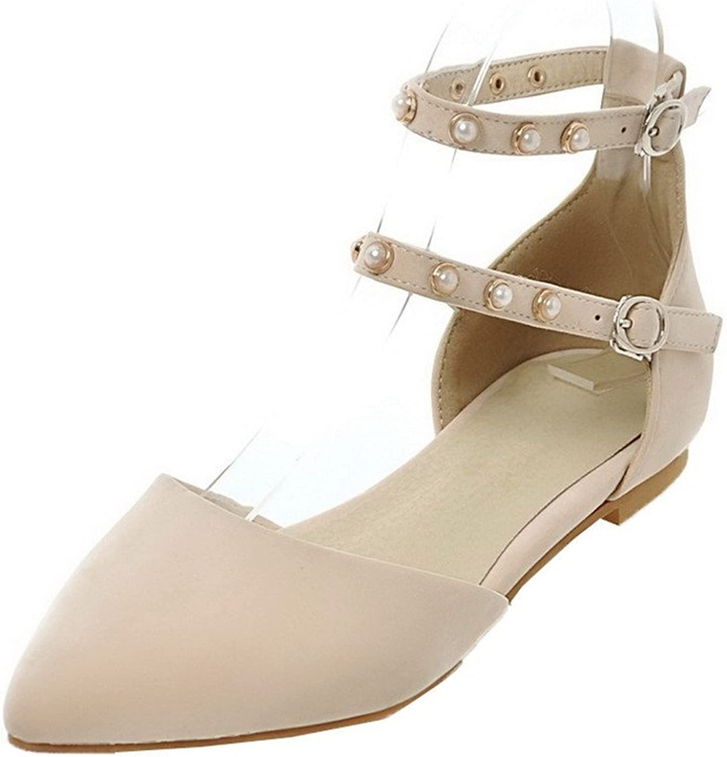 WeiPoot Women's Closed-Toe Low-Heels Frosted Solid Buckle Sandals, EGHLH006618