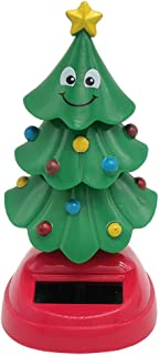 CUTICATE Solar Powered Toy Christmas Tree Car Dashboard Home Window Office Desktop Xmas Holiday Decoration Ornaments