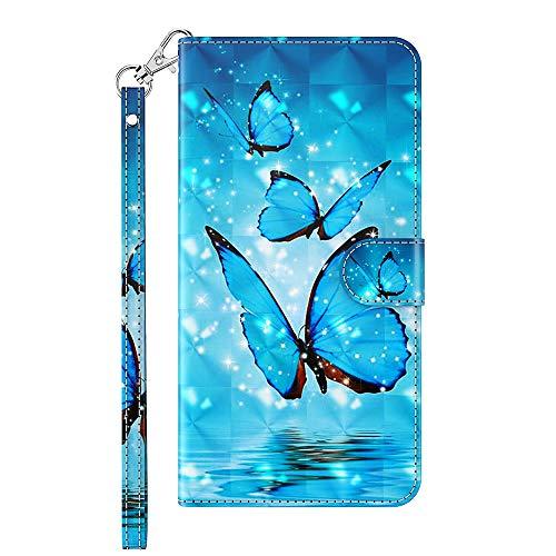Capa carteira XYX para Motorola Moto G9 Play, capa carteira flip colorida de couro PU com compartimentos para cartão e alça de pulso, borboleta azul
