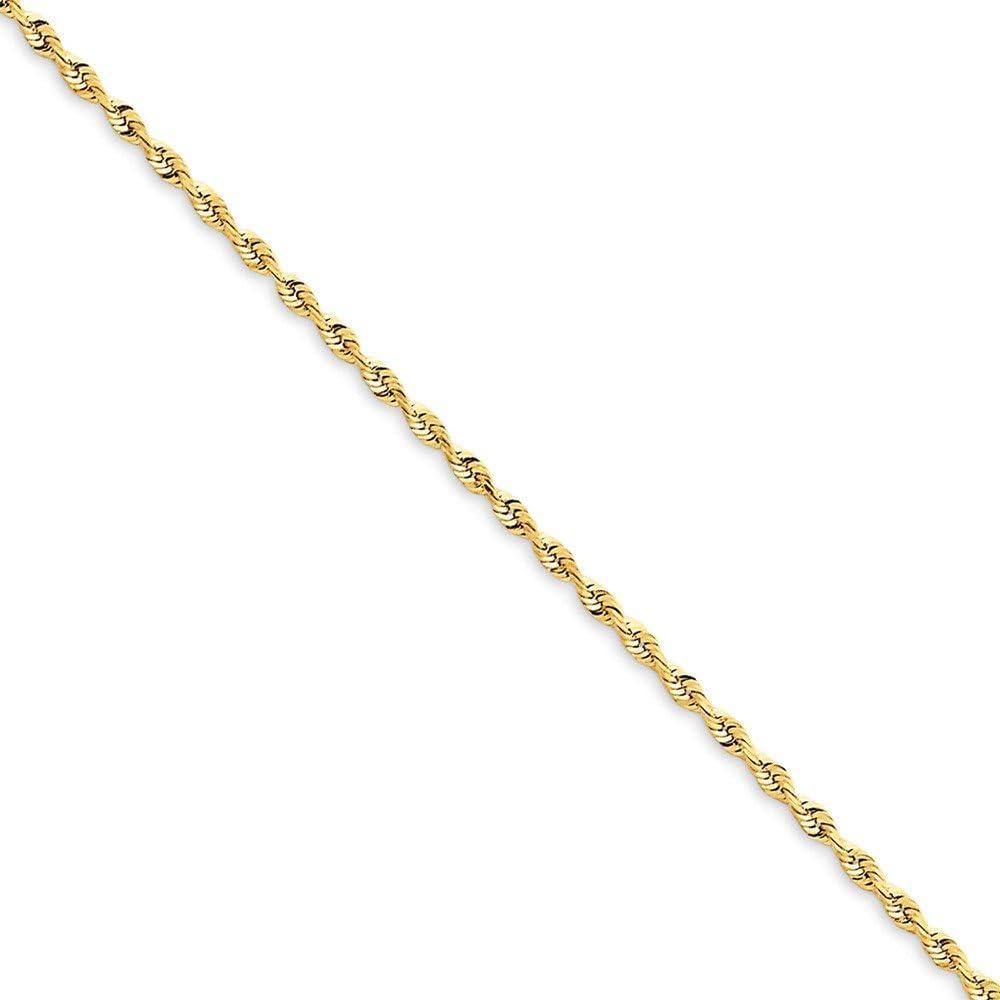 Diamond2Deal Solid 14k Yellow Gold 1.84mm Rope Bracelet for Women