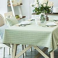 長方形のテーブルクロス、台所のコーヒーテーブルレストランの装飾のための糸染めグリッド形状防水と耐油 (色 : 緑, サイズ さいず : 39.4''*63'')