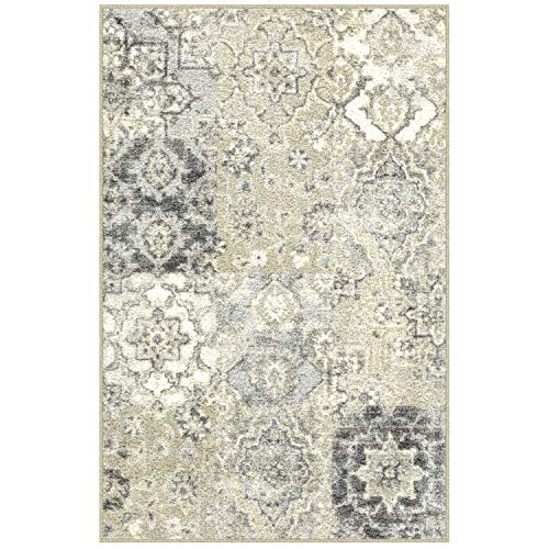 Maples Rugs Vintage Patchwork Distressed 2'6 x 3'10 Non Skid Washable Throw Rugs [Made in USA] for Entryway and Bedroom, Grey